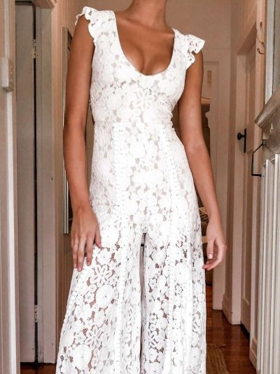 Casual Pure V neck Lace Hollow out Backless Jumpsuits