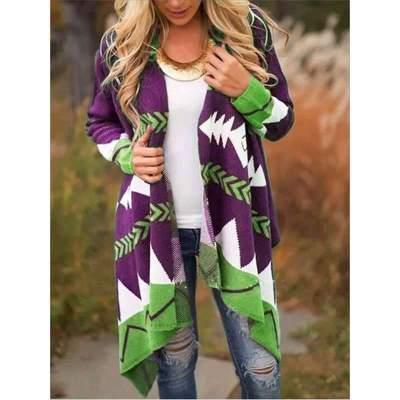 Fashion Gored Print Long sleeve Cardigan Coats