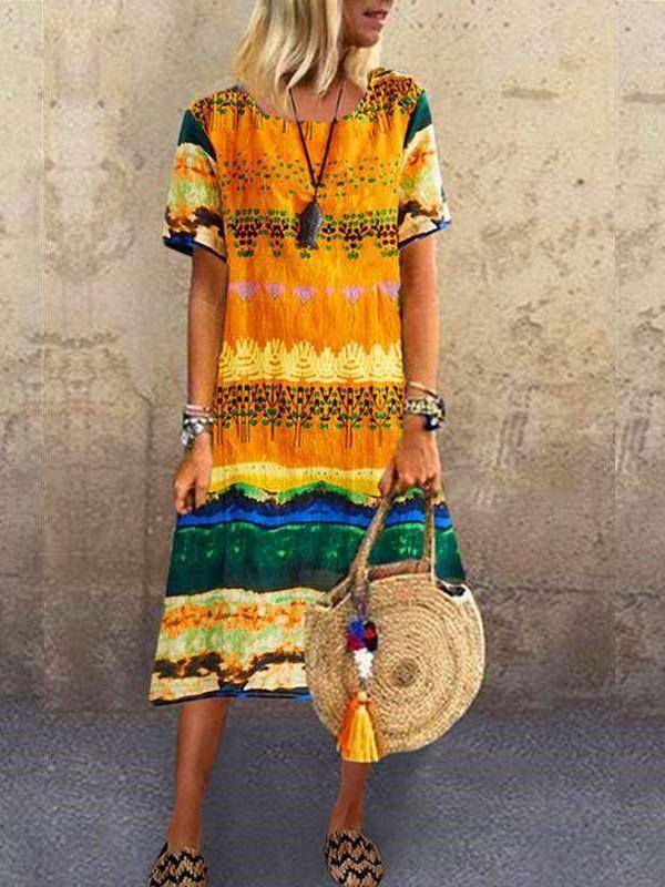 Fashion Casual Print Round neck Short sleeve Maxi Dresses