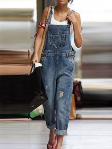 Women casual denim fashion long pants jumpsuits