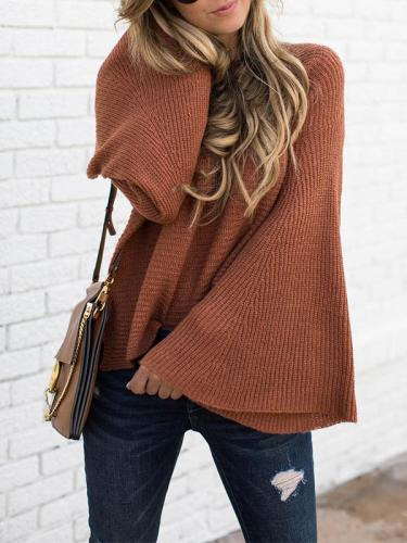 Plain Daily Coffee Round Neck Big Sleeve Sweater