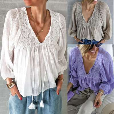 Fashion Casual Pure V neck Long sleeve Gored Lace Blouses