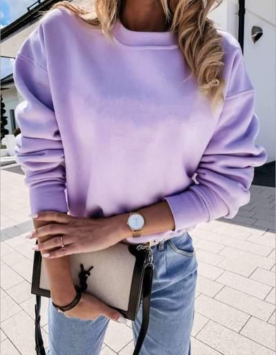 Fashion Pure Round neck Long sleeve T-Shirts