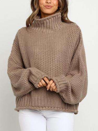 Loose high neck women warm knit sweaters