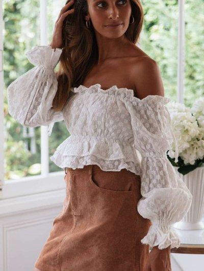 Fashion Pure Off shoulder Long sleeve T-Shirts