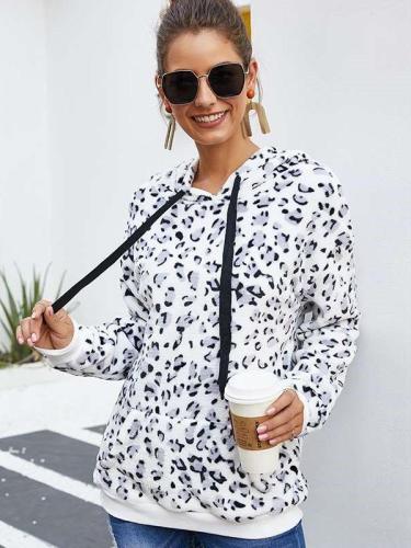 Fashion Leorard print Plush Hoodies Sweatshirts