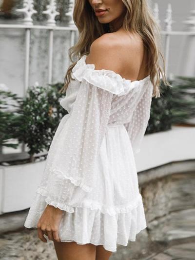 Chiffon white off shoulder long sleeve lotus leaf fungus edge mini skater dresses