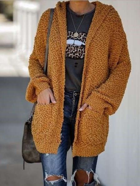 Fashion Casual Pure Long sleeve Hoodie Cardigan