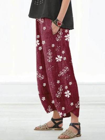 Casual Floral Printed Pockets Women Long Pants
