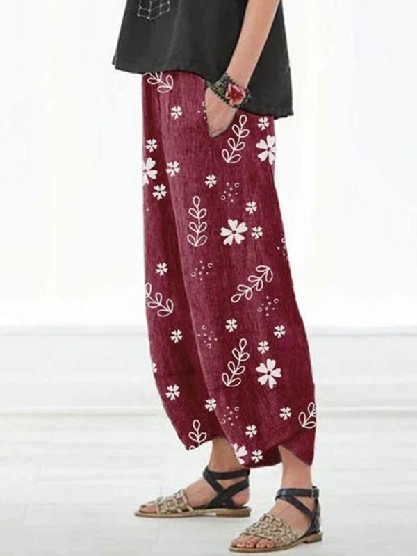 Casual Floral Printed Pockets Women Long Pants