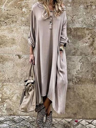 Loose Plain hooded long sleeve women maxi dresses