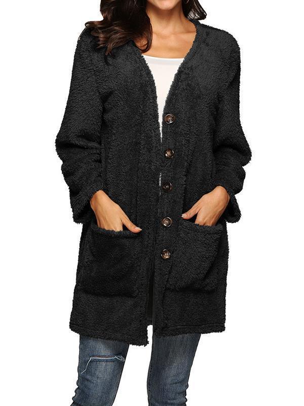 Single breasted button warm medium length cardigan coats