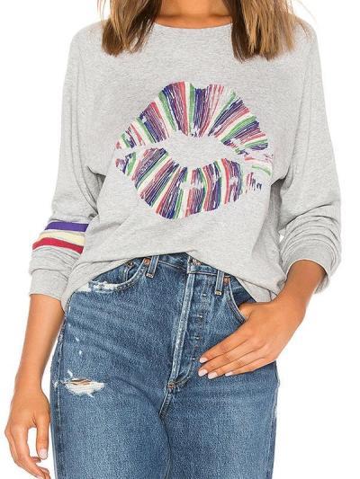 sexy lip perm fashion printed sweatshirts