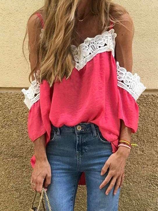Fashion Vest Off shoulder Lace Long sleeve T-Shirts