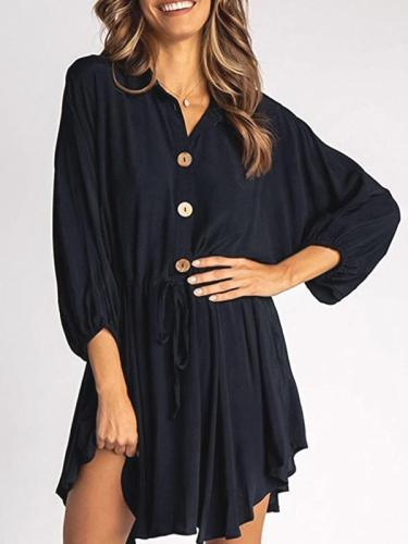 Women's fashion lantern long sleeve belt loose skater dresses