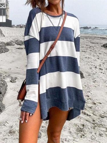 Fashion Casual Stripe Round neck Long sleeve Vent Long Sweatshirts