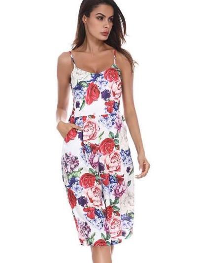 Floral  Bell-bottoms Vest Jumpsuits