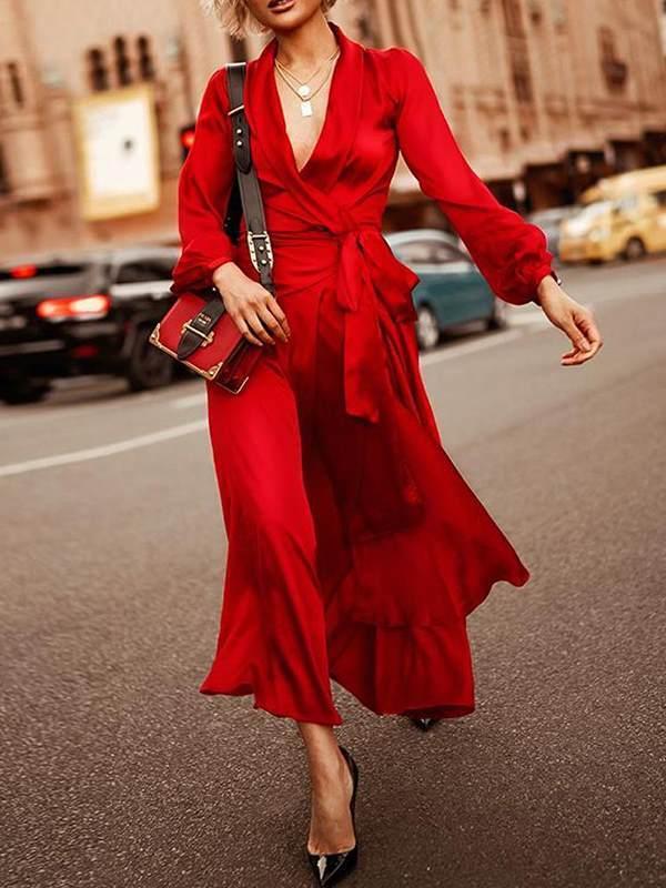 Elegant v-neck sexy waist tie maxi dresses