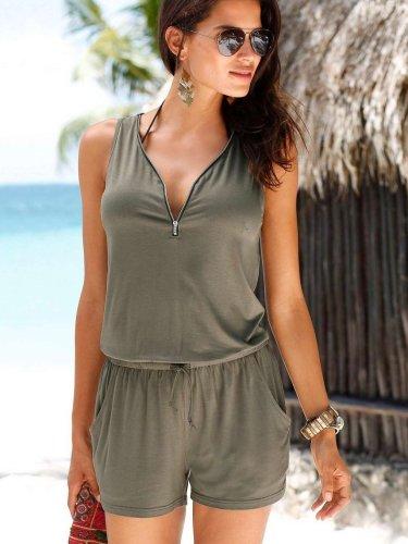 Fashion V neck Sleeveless Zipper Jumpsuits