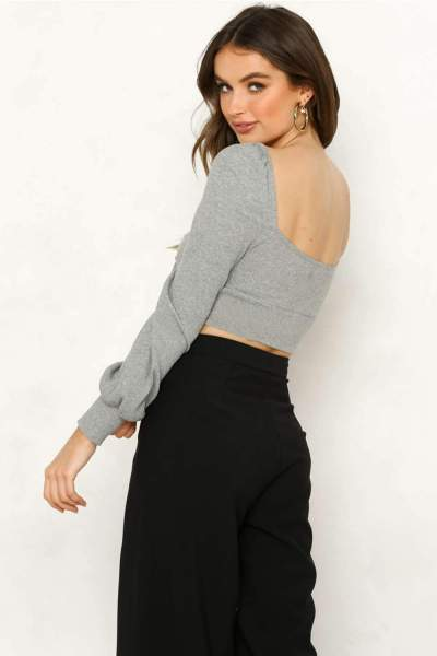 Sexy Knit V neck Lacing Backless Long sleeve T-Shirts