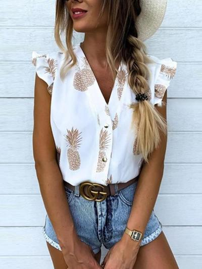 V-neck sexy crop pineapple short sleeve blouses