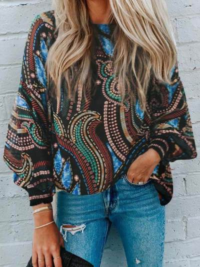Women round neck chiffon printed long sleeve blouses