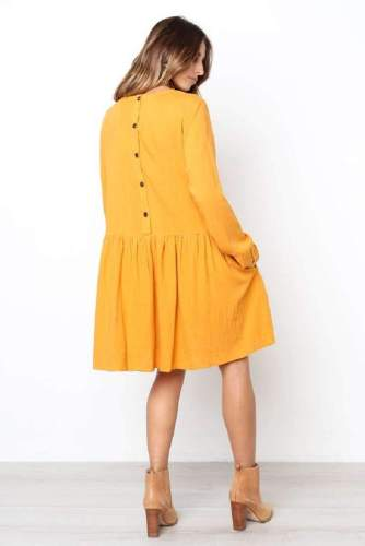 Fashion Casual Pure Gored Round neck Long sleeve Fastener Shift Dresses