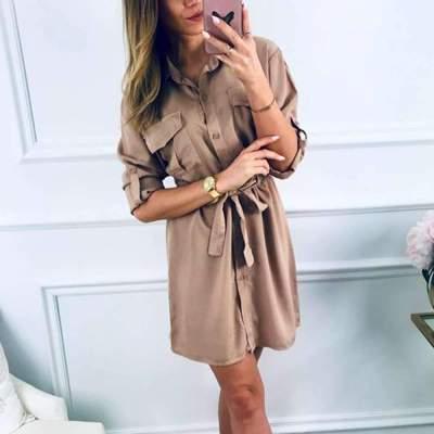 Casual Lapel Lacing Skater Skirt Dresses