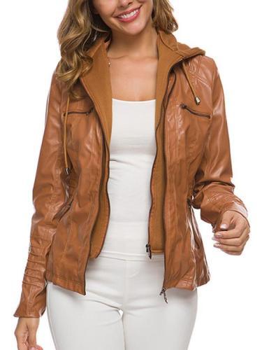 Long sleeve leather zipper women jackets