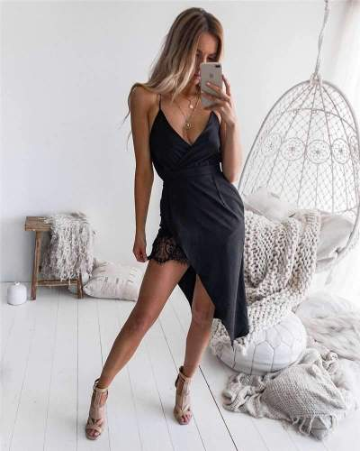 Solid Color Sling Sexy Irregular Dress