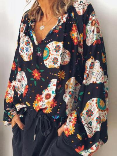 Casual printed long sleeve blouse for women