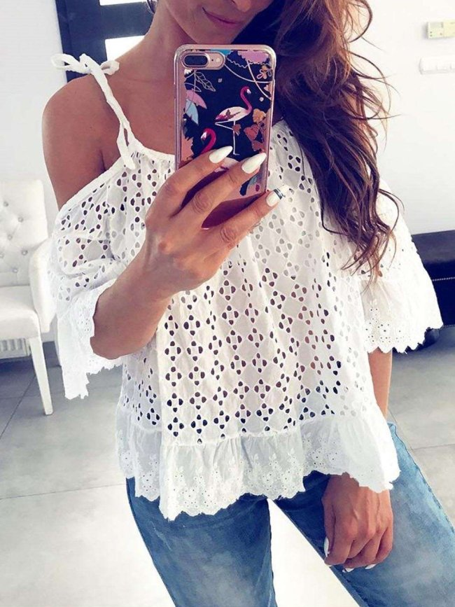 Casual Vest Lace Hollow out Off shoulder Short sleeve Gored T-Shirts