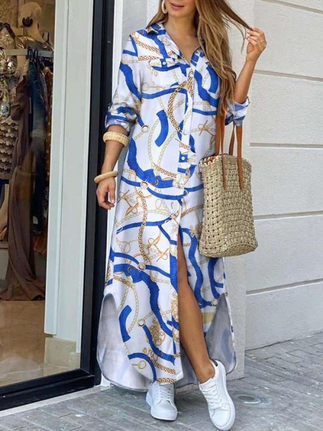 Fashion Casual Loose Print Lapel Long sleeve Fastener Maxi Dresses