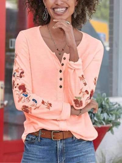 Fashion Embroider Round neck Long sleeve T-Shirts