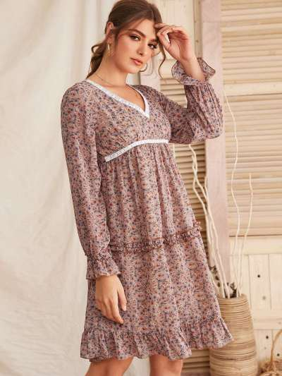 Fashion Print V neck  Falbala Shift Dresses