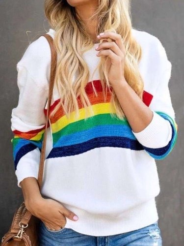 Casual Stripe print Round neck Long sleeve Sweatshirts