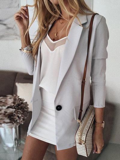 Pure color button fashion casual turn down collar blazers