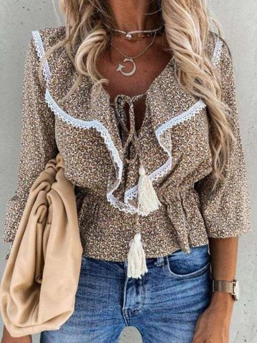 Fashion Casual Loose Print Round neck Falbala Macrame Blouses
