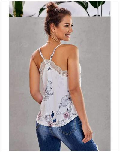 Fashion Print V neck Lace Vests