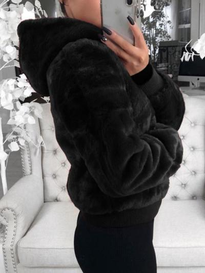 Fashion plain women long sleeve hoodied coats