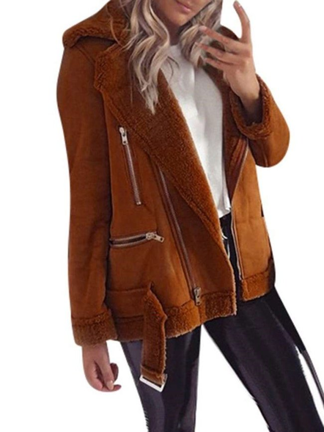 Fashion Plush Lapel Long sleeve Coats