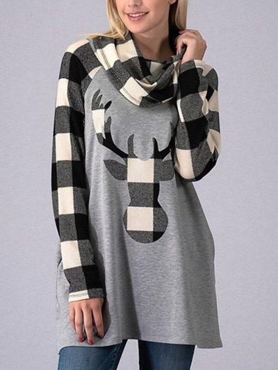 Christmas Deer High Collar Woman Swearshirts