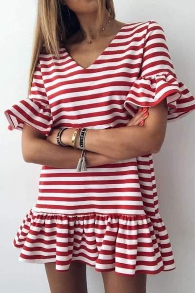 Fashion Casual Stripe V neck Short sleeve Falbala Shift Dresses
