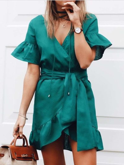 Fashion Pure V neck Short sleeve Falbala Lacing Skater Dresses