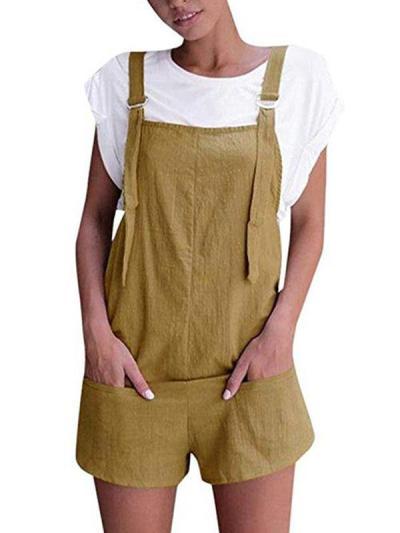 Sweet casual pocket short plain jumpsuits