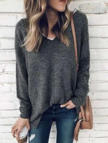 Fashion Pure V neck Long sleeve Sweaters