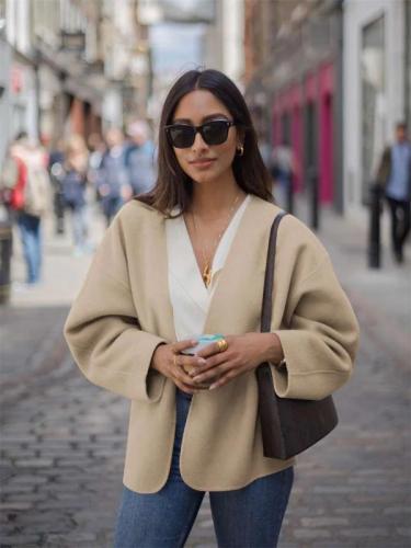 Fashion Pure Loose Long sleeve Wool Coats