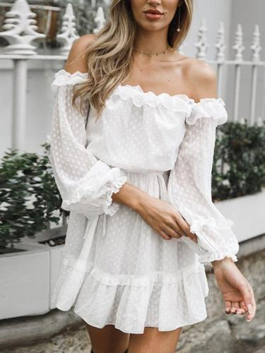 Chiffon white off shoulder long sleeve lotus leaf fungus edge mini skater dresses
