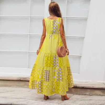 Casual Loose Print Round neck Sleeveless Maxi Dresses