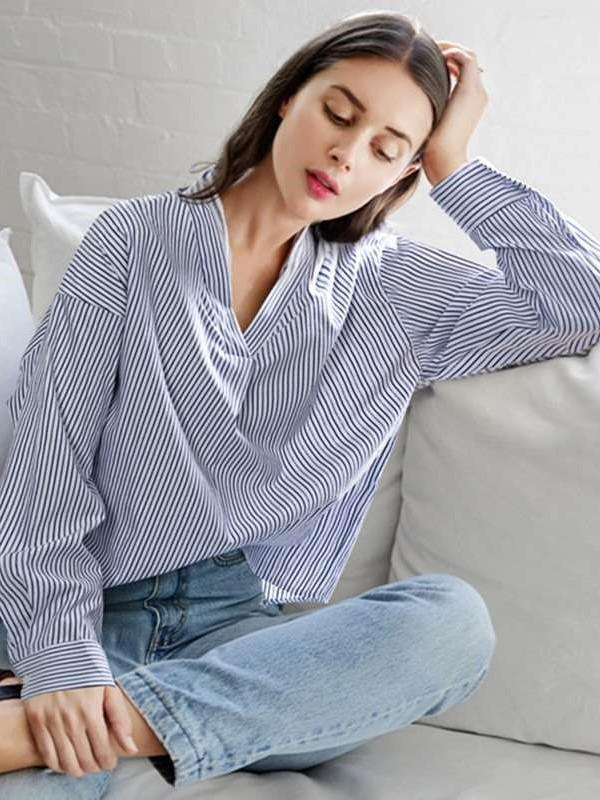 Fashion Stripe Lace V neck Long sleeve Blouses